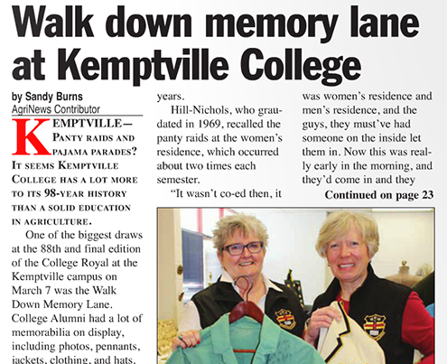 Walk down memory lane at Kemptville College