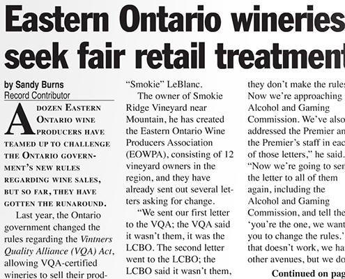 Eastern Ontario wineries seek fair retail treatment