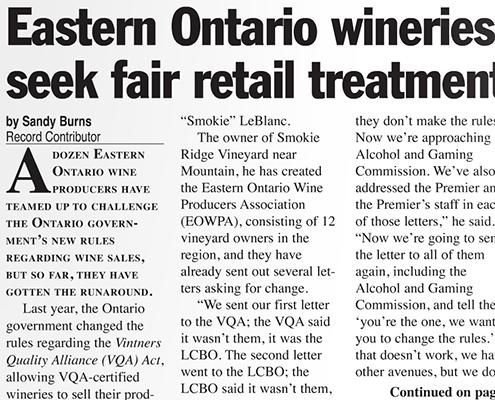Eastern Ontario wineries seek fair retail treatment