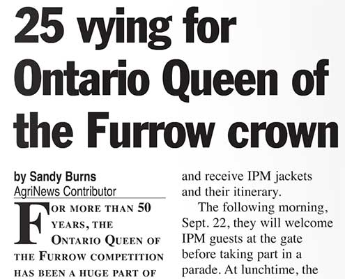 25 vying for Ontario Queen of the Furrow crown