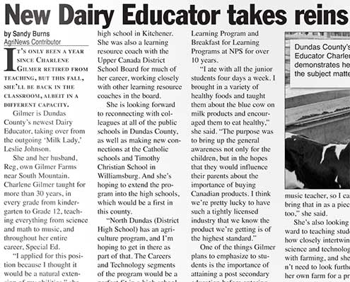 New Dairy Educator takes reins in Dundas County