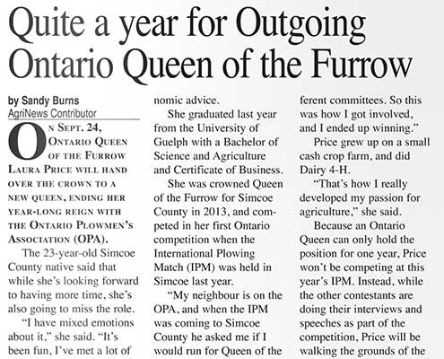 Quite a year for Outgoing Queen of the Furrow