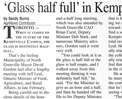 Glass half full in Kemptville