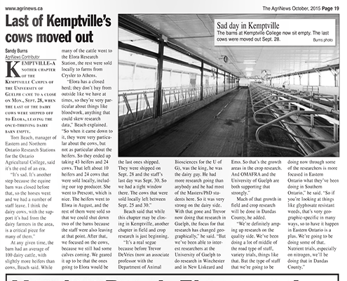 Last of Kemptville's cows moved out