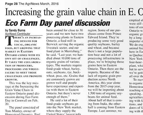 Increasing the grain value chain in E. Ontario