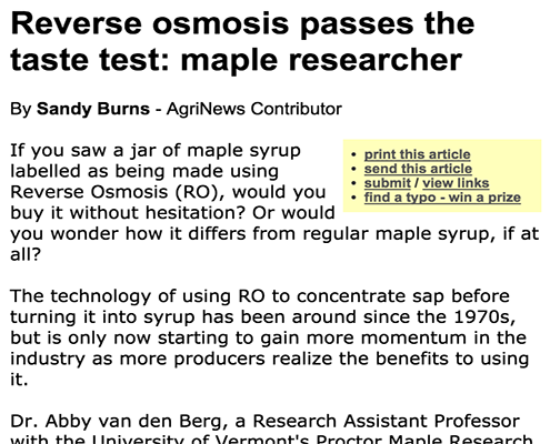 Reverse osmosis passes the taste test: maple researcher