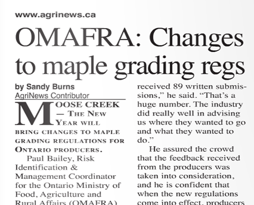 OMAFRA: Changes to maple grading regs